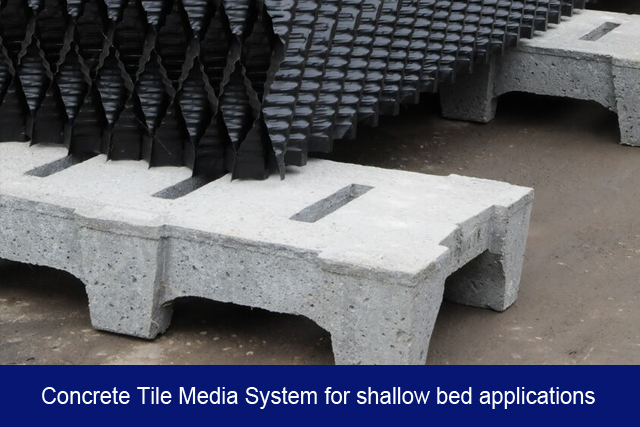 NEW3. Concrete Tile Media System for shallow bed applications